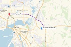 маршрут эвакуатора в казани: ул. Тверская - ул. Космонавтов 59 (11 км), буксир 24