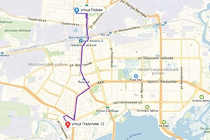 маршрут эвакуатора в казани: ул. Гладилова 32 - ул. Лядова 12 (6, 7 км), буксир 24