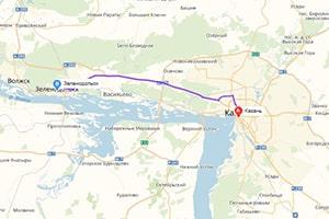 маршрут эвакуатора в казани: г. Казань - г. Зеленодольск (45 км), буксир 24
