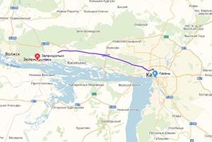 маршрут эвакуатора в казани: г Зеленодольск - г. Казань (46 км), буксир 24